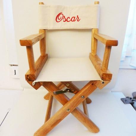 fauteuil metteur en sc ne enfant toile ecrue personnalis au pr nom. Black Bedroom Furniture Sets. Home Design Ideas