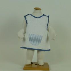 Bavoir tablier rayé bleu
