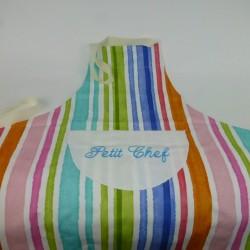 Tablier à rayures multicolores